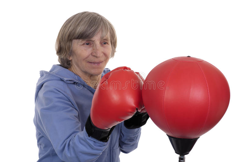 Retired Lady Boxing Stock Photo