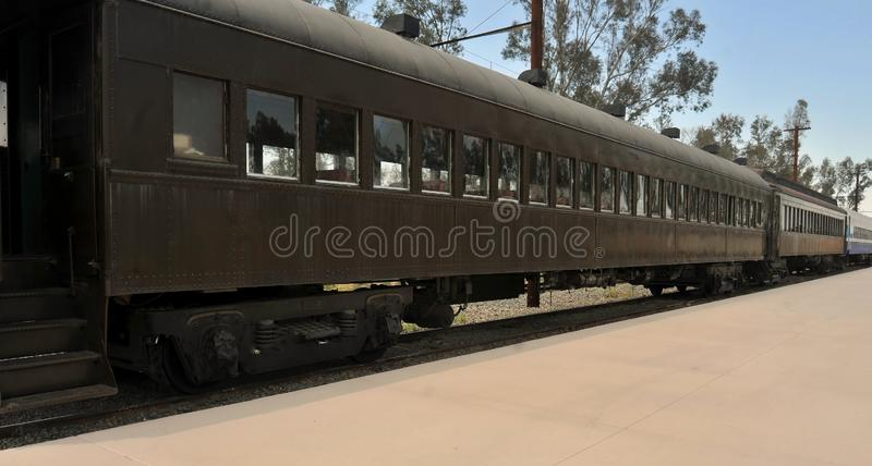 Old Passenger Cars At Perris Railroad Museum. These retired passenger cars appear to be from the 1930`s and 1940`s. They are on display at the Perris Railroad stock photos