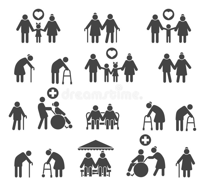 Retired people family. Senior parents and olds care silhouette icons isolated on white background, vector icons stock illustration