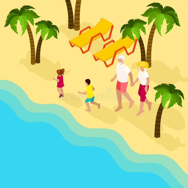 Retired People Family Vacation Isometric Banner vector illustration