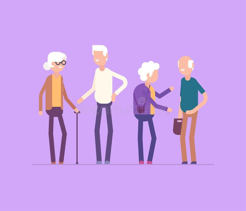 Retired people meeting - modern flat design style isolated illustration. On lilac background. Smiling cheerful senior cartoon characters talking, laughing. High vector illustration