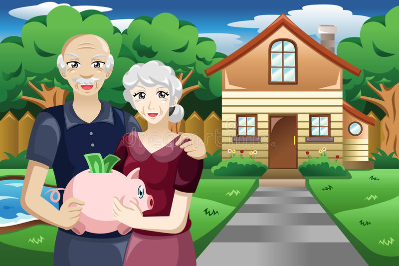 Retired people with their savings. A vector illustration of retired people holding a piggybank of their savings royalty free illustration