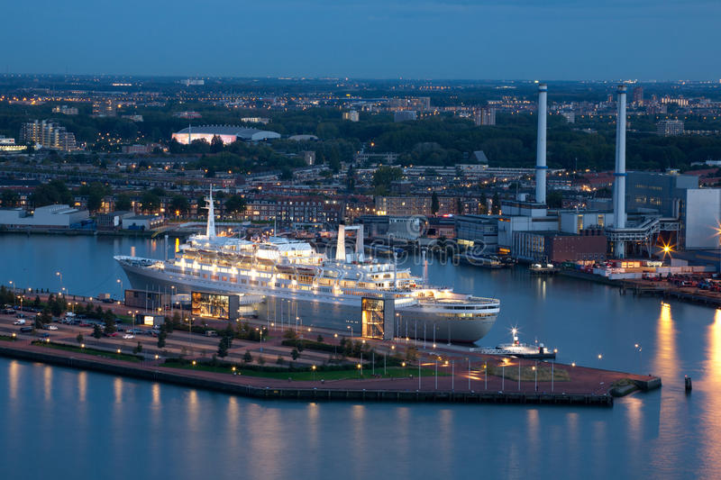 Download The Retired SS Rotterdam Cruise Ship At Night Editorial Photography - Image of travel, dutch: 27013317