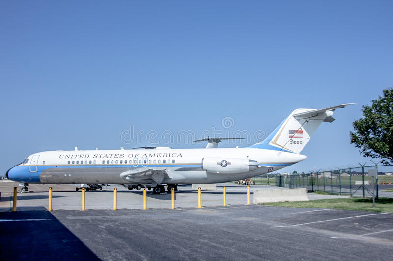 Retired United States Presidential Plane. A United States of America presidential plane located now at the military museum in Dover Delaware for tourists to royalty free stock photo
