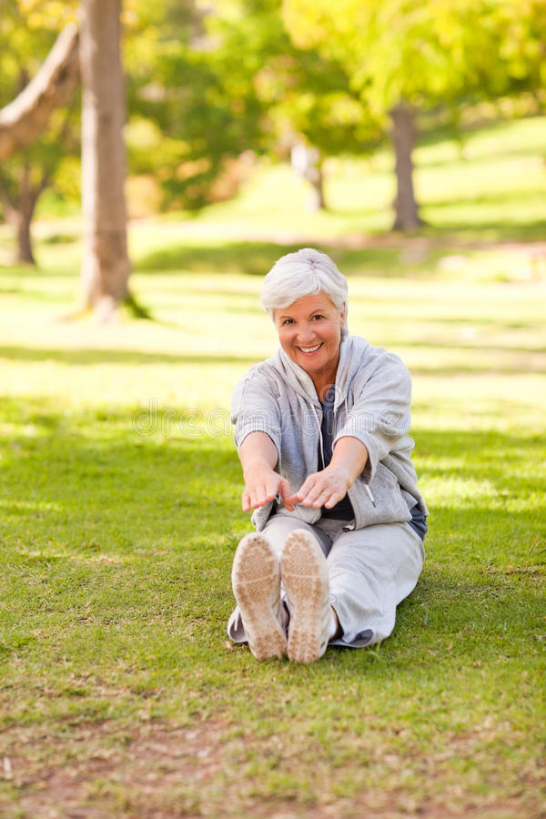 Download Retired Woman Doing Her Stretches Stock Photo - Image: 18742070