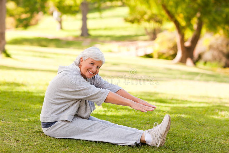 Download Retired Woman Doing Her Stretches Stock Photo - Image: 18742074