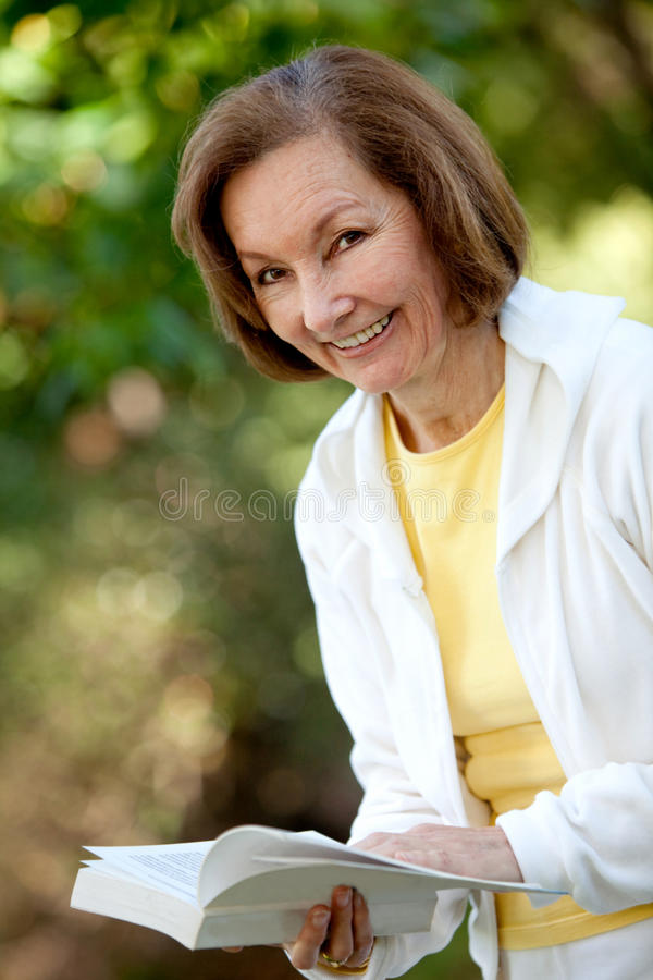 Download Retired Woman Reading A Book Stock Image - Image: 15346779