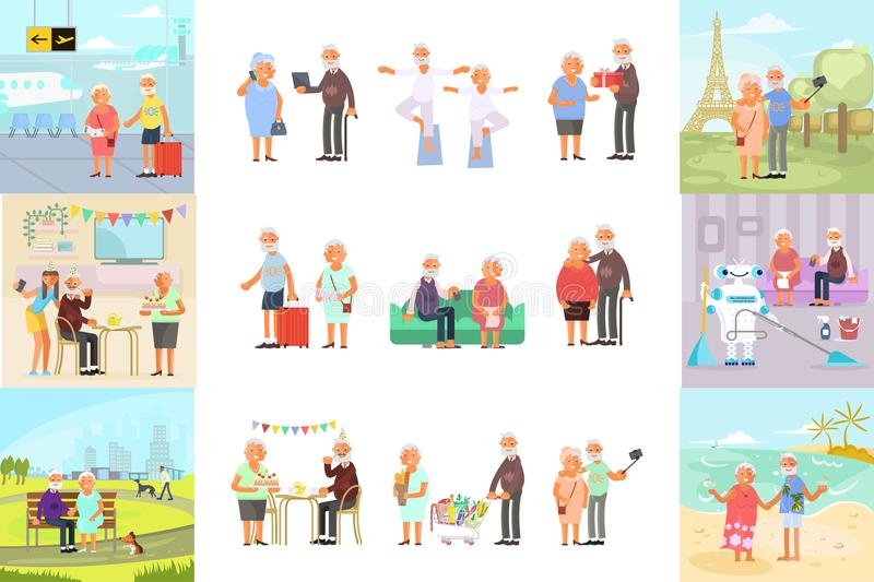 Retiree for grandparents. Big set of healthy active lifestyle retiree for grandparents. Elderly people characters. Grandparents family Seniors isolated on white vector illustration