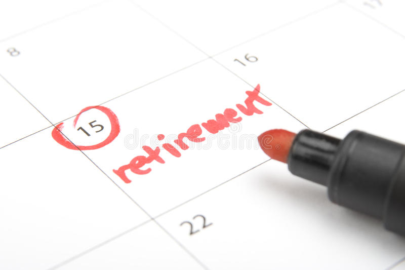 Retirement. Look forward retirement payday - retirement written in calendar and highlighter stock images