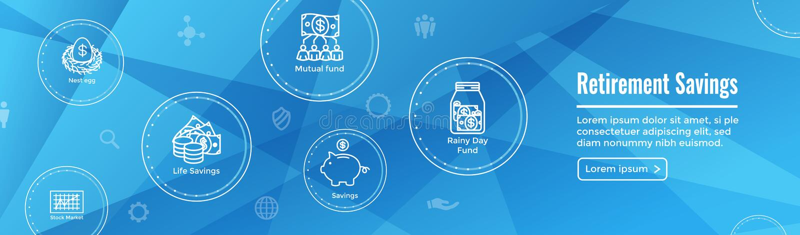 Retirement Account and Savings Icon Set Web Header Banner w Mutual Fund, Roth IRA, etc stock illustration