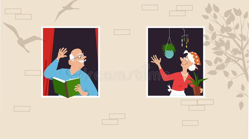 Retirement community neighbors. Senior woman taking care of her plants and greeting her neighbor who is reading a book at the window, EPS 8 vector illustration royalty free illustration