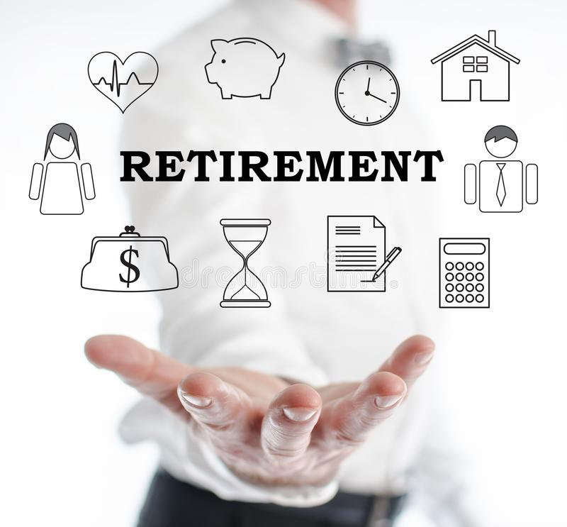 Retirement concept levitating above a hand royalty free stock photo