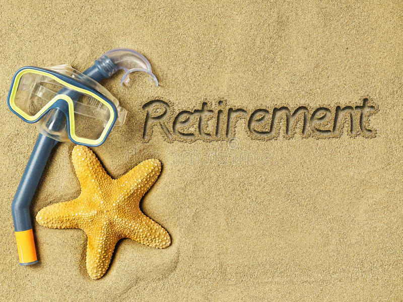 Retirement concept. Retirement text on sand, swimming goggles and starfish stock photography