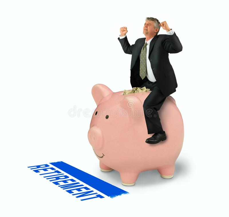 Retirement financial planning success man riding piggy bank full of money over RETIREMENT finish line. Retirement savings, financial planning strategy success royalty free stock photo