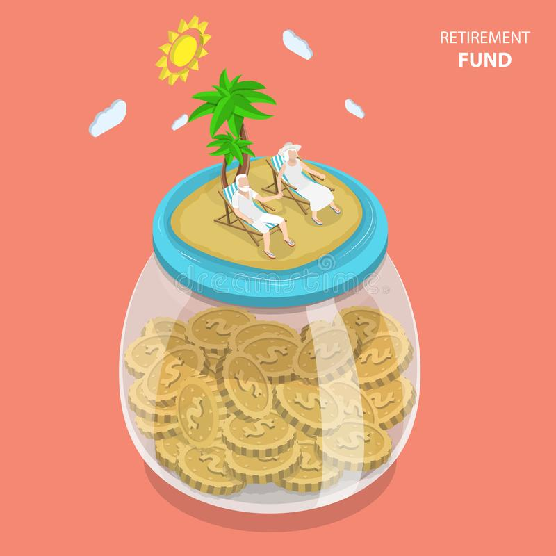 Retirement fund flat isometric vector concept. Aged couple is laying on the beach chairs on the sea shore that located on the top of the huge glass jar with stock illustration