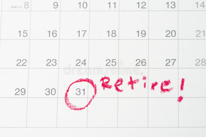 Retirement goal or financial freedom, planning for success salary man, important target red circle end of month day on calendar. Target aim as Retire or last royalty free stock photos