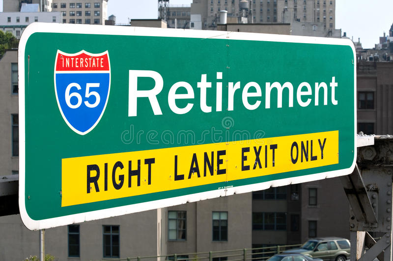 Retirement Highway Sign Royalty Free Stock Photos