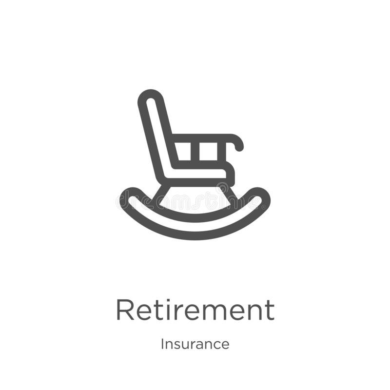 retirement icon vector from insurance collection. Thin line retirement outline icon vector illustration. Outline, thin line vector illustration