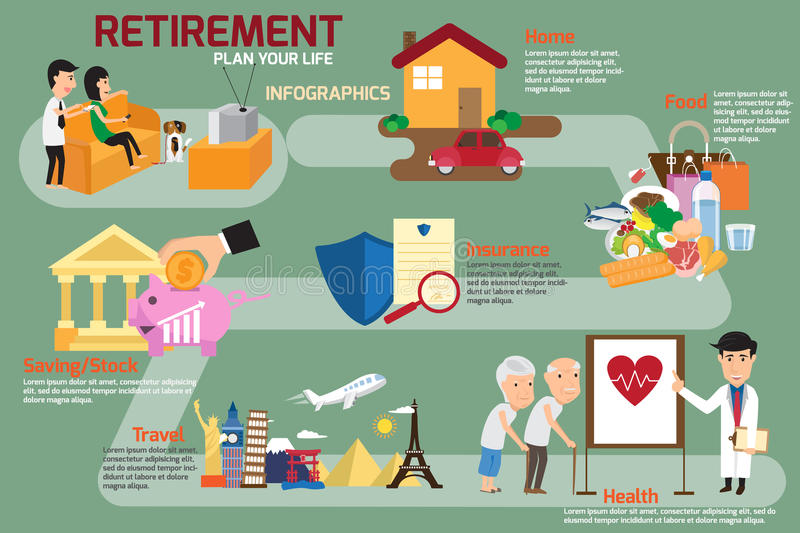 Retirement infographic with old people and set elements. man and royalty free illustration