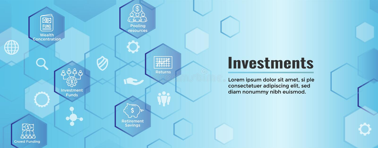 Retirement Investments, Dividend Income, Mutual Fund, IRA Icon set Web Header Banner stock illustration