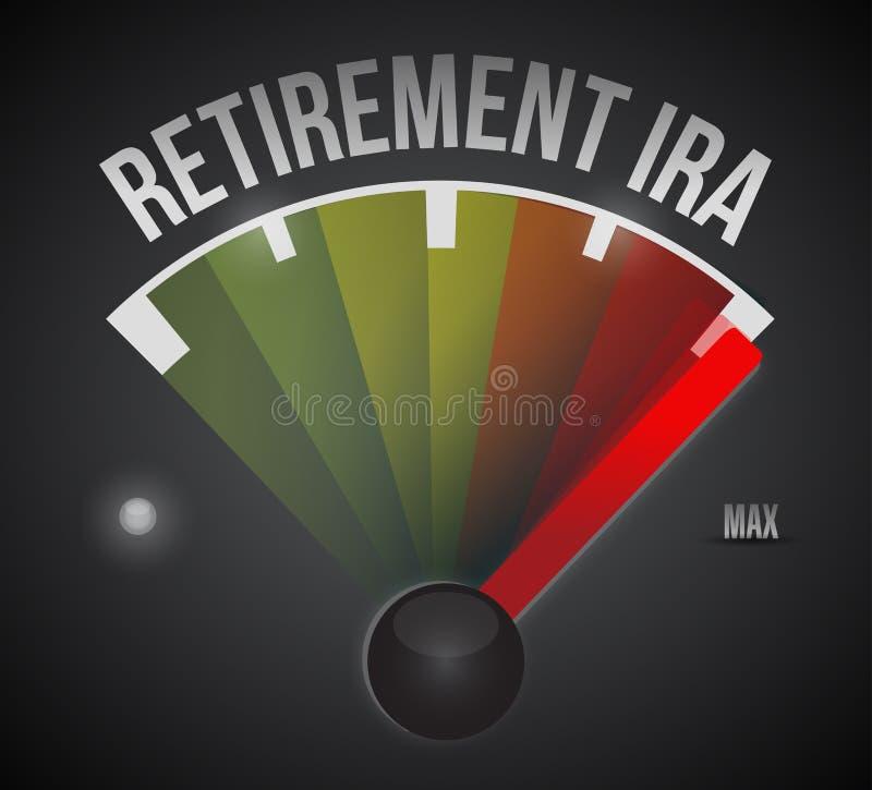 Retirement ira speedometer illustration. Design over a black background stock photos