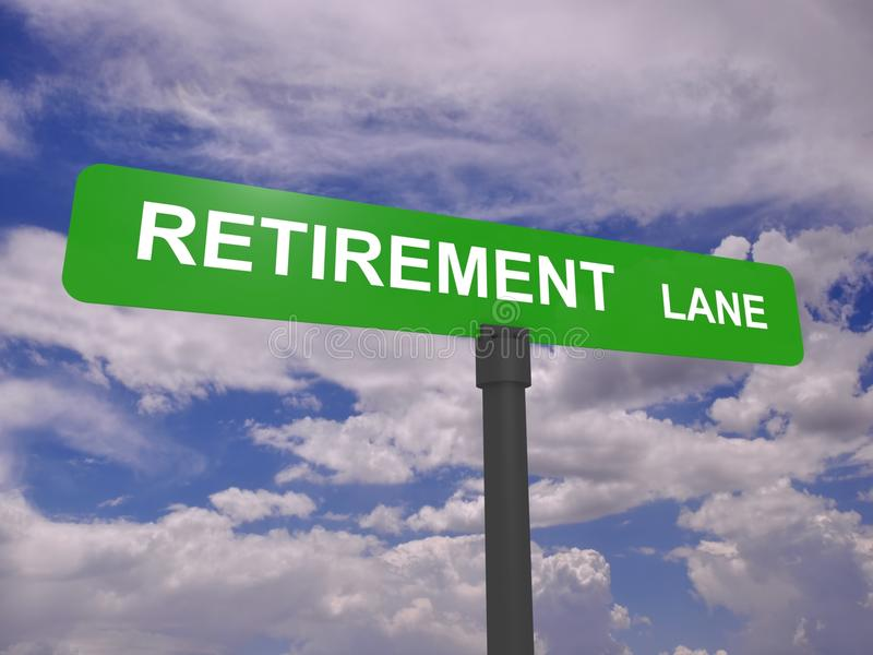 Retirement lane signpost. Street sign for Retirement Lane with clouds and blue sky background stock photos