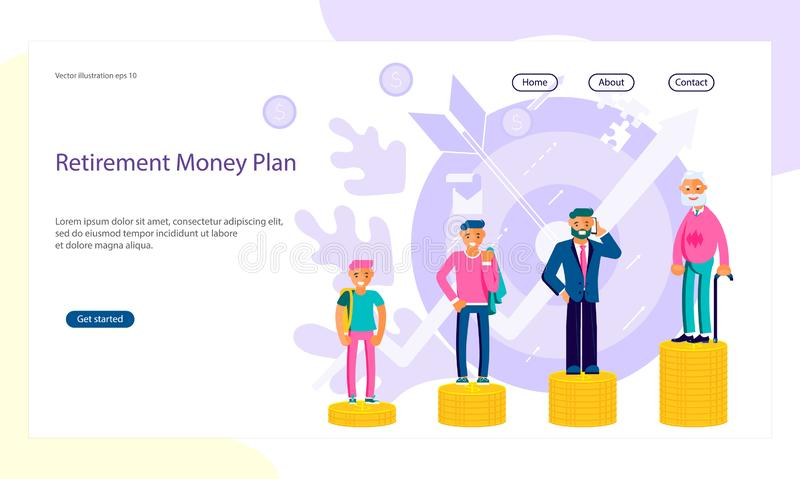 Retirement money plan. Web page with Metaphor of people with retirement money or personal finance plan.Men of different ages stand on a stack of gold coins. Flat royalty free illustration