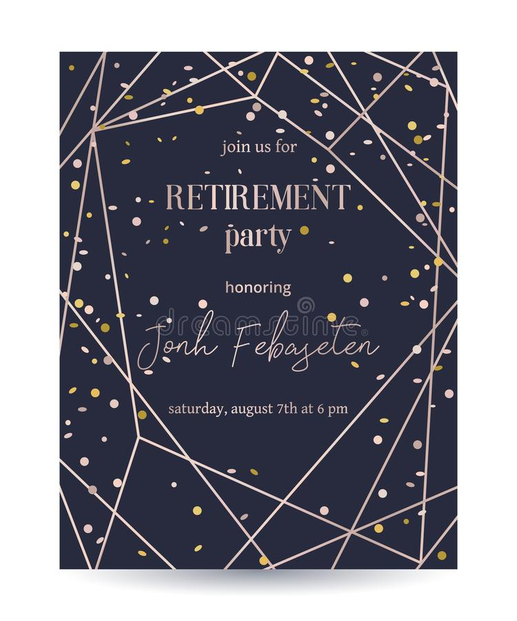 Retirement party invitation. Design template with rose gold polygonal frame and confetti. Vector illustration royalty free illustration