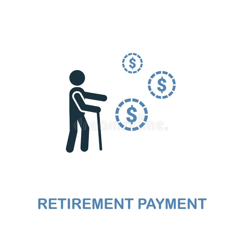 Retirement Payment icon in two colors design. Pixel perfect symbols from personal finance icon collection. UI and UX. Illustration. Retirement Payment creative royalty free illustration