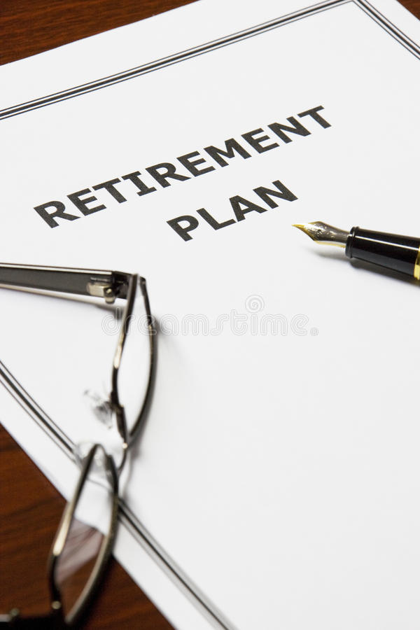 Retirement Plan. Image of a retirement plan on an office table stock photo