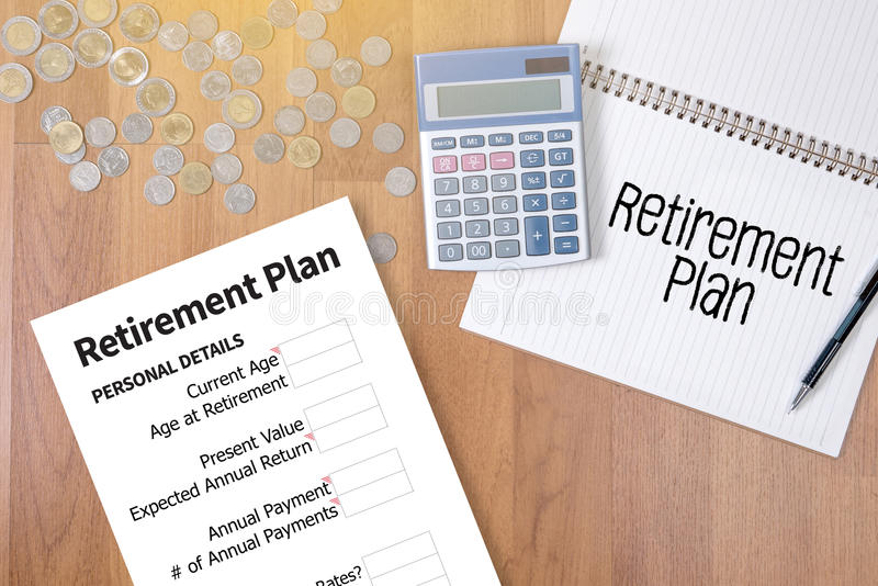 Retirement Plan Loan Liability Tax Form to Retirement Plan. Businessman working at office desk and using computer and objects, Gamification Business Concept stock images