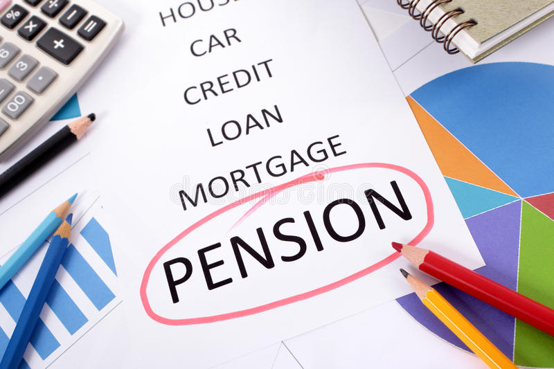 Pension planning, retirement fund plan. The word Pension circled in red with a list of saving and debt obligations surrounded by graphs, charts, books and stock photo