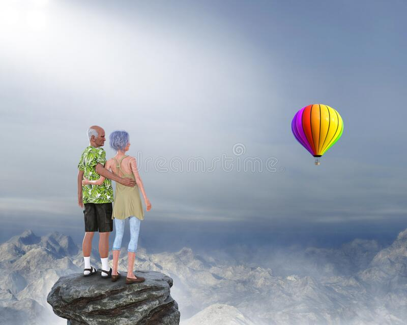Retirement, Retired Senior Couple, Love, Romance, Hot Air Balloon. An old elderly retired senior couple stand on a rock ledge and look at a  mountain range with stock image