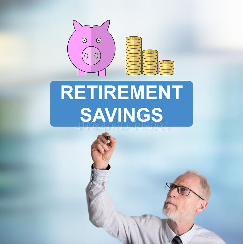 Businessman drawing retirement savings concept. Retirement savings concept drawn by a businessman royalty free stock photo