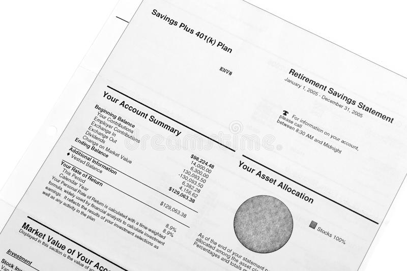 Retirement savings statement. Retirement savings and investments - account statements summary royalty free stock images