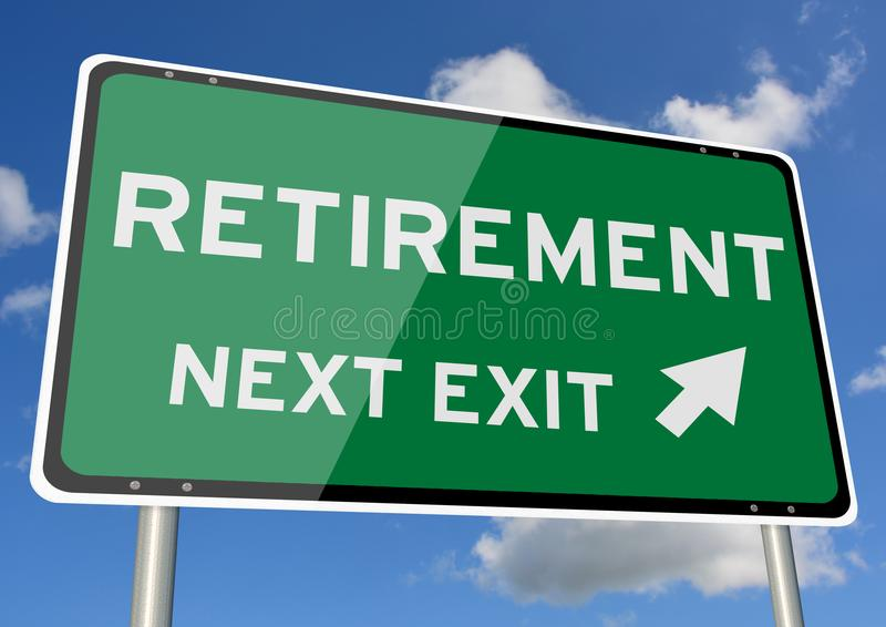 Download Retirement Signpost Roadsign Next Exit Blue Sky Stock Image - Image of background, future: 109528939