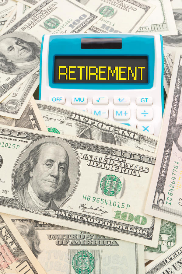 Retirement word on calulator with American notes