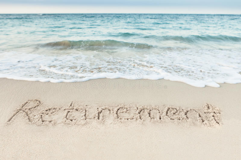 Download Retirement Written On Sand By Sea Stock Image - Image of nature, idea: 52412425