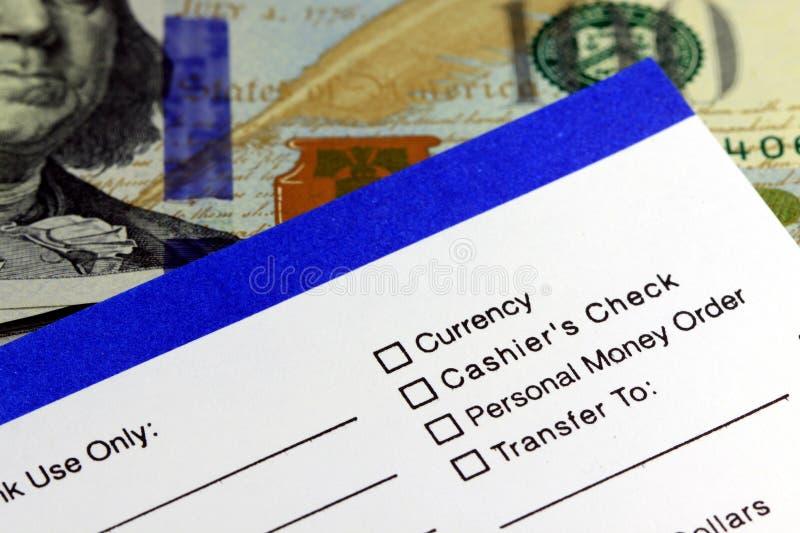 Retiro de actividades bancarias - nota de ingreso imagen de archivo
