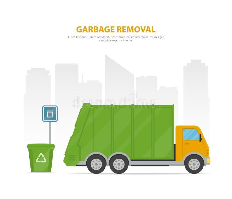 Retiro de la basura Bandera de la historieta con el camión y los contenedores de basura en el fondo el horizonte de la ciudad libre illustration
