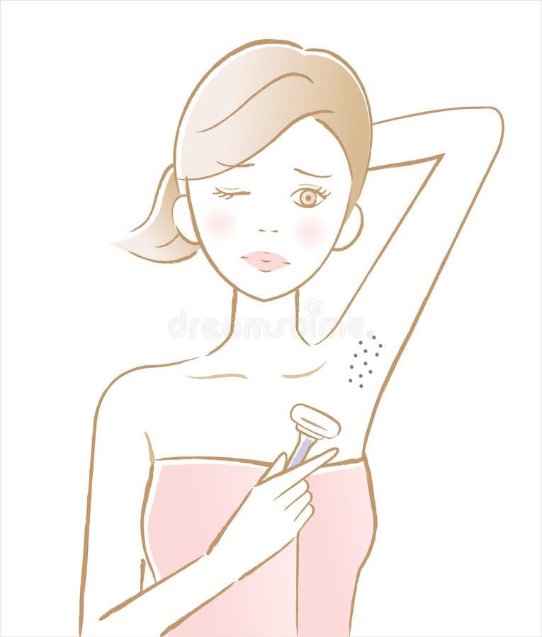 Retiro del pelo de axila de la mujer daño de la piel de la causa del retiro del pelo de la maquinilla de afeitar ilustración del vector