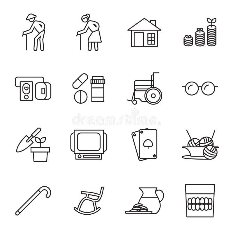 Retiro, personas mayores del sistema del icono libre illustration
