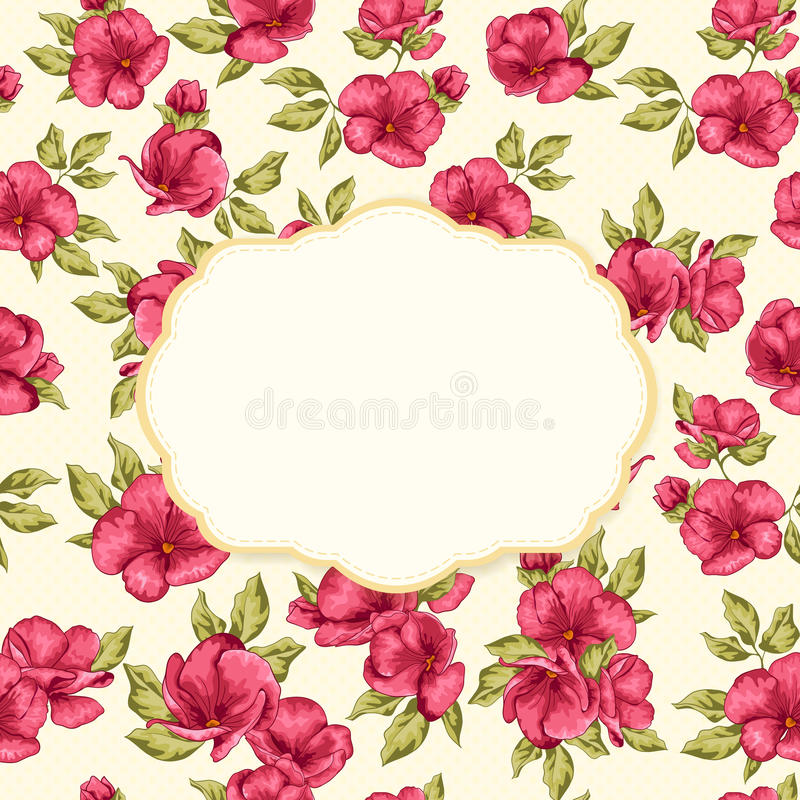 Reto card with frame and flower pattern. stock illustration