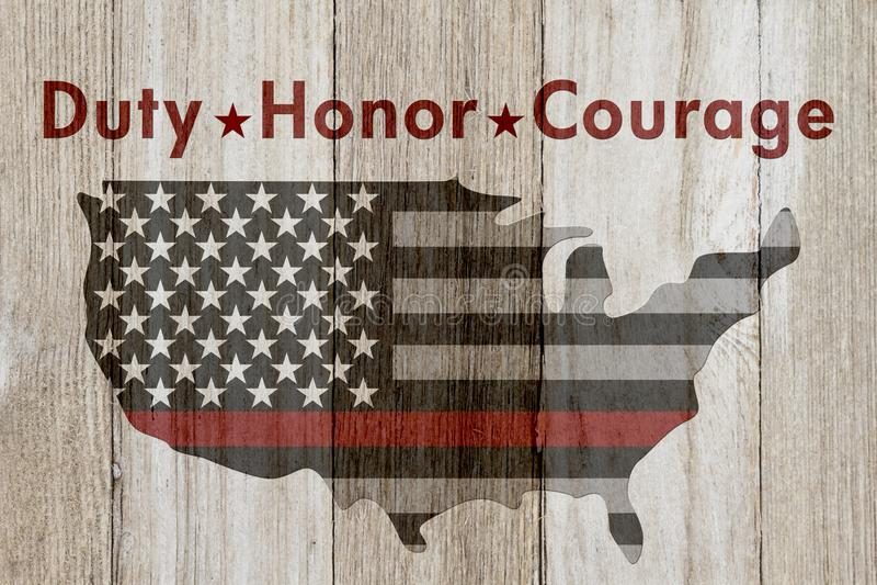Reto Duty Honor Courage meddelande arkivfoton