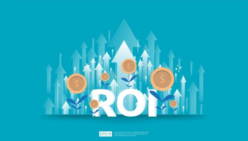 Retorno sobre o investimento, conceito da oportunidade do lucro setas do crescimento do neg?cio ao sucesso Texto do ROI com carta ilustração do vetor