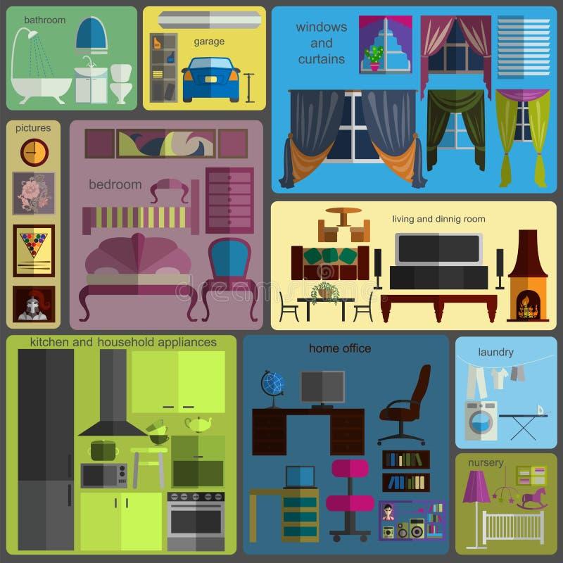 Retouche de Chambre infographic Éléments intérieurs plats réglés pour le cre illustration de vecteur