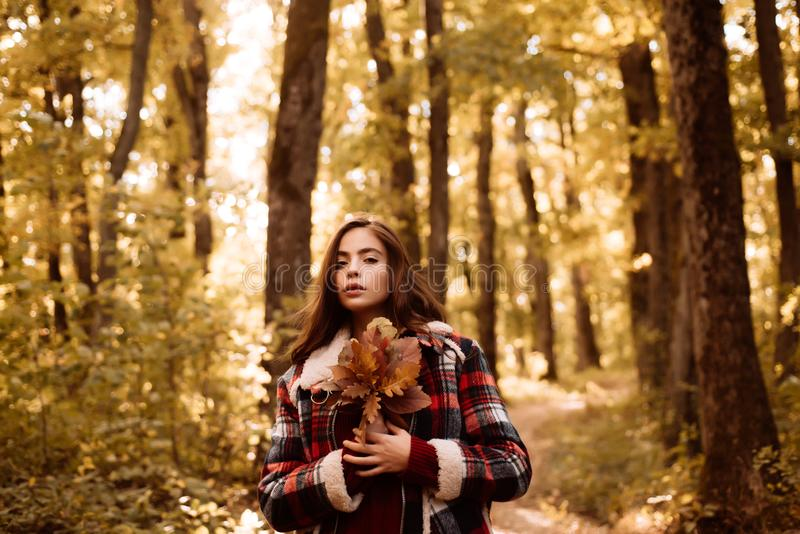 Retouched and natural light. Female autumn fashion concept. Perfect Woman Fashion Model with Fall Maple Leaf Outdoors. Autumn girl. Happy girl in Autumn Park royalty free stock photos