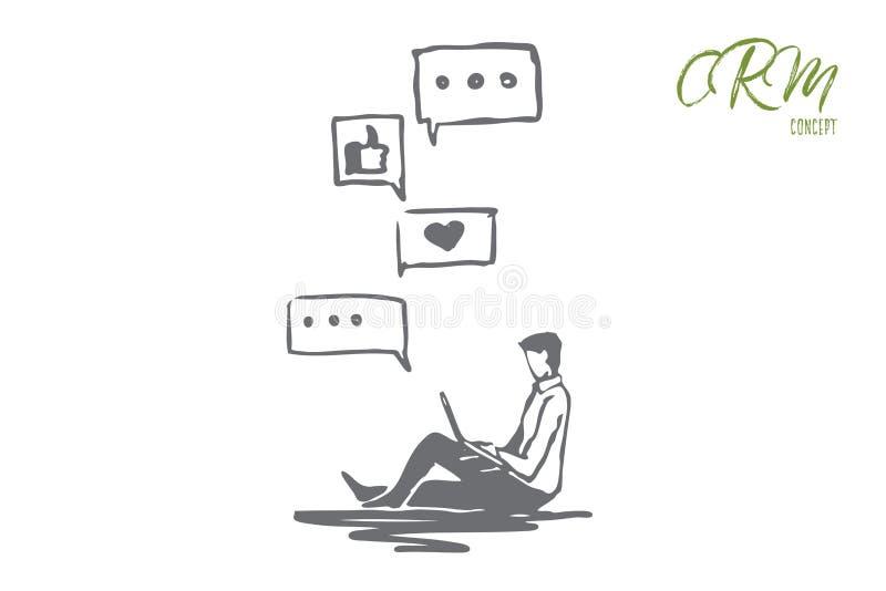 Retour, affaires, communication, client, concept d'opinion Vecteur d'isolement tir? par la main illustration de vecteur