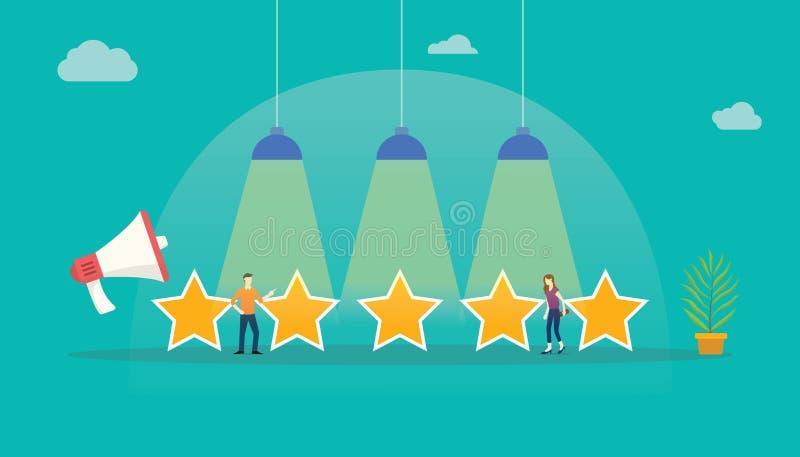 Retour d'étoile de notation client avec des personnes d'équipe se tenant avec de grandes étoiles illustration libre de droits