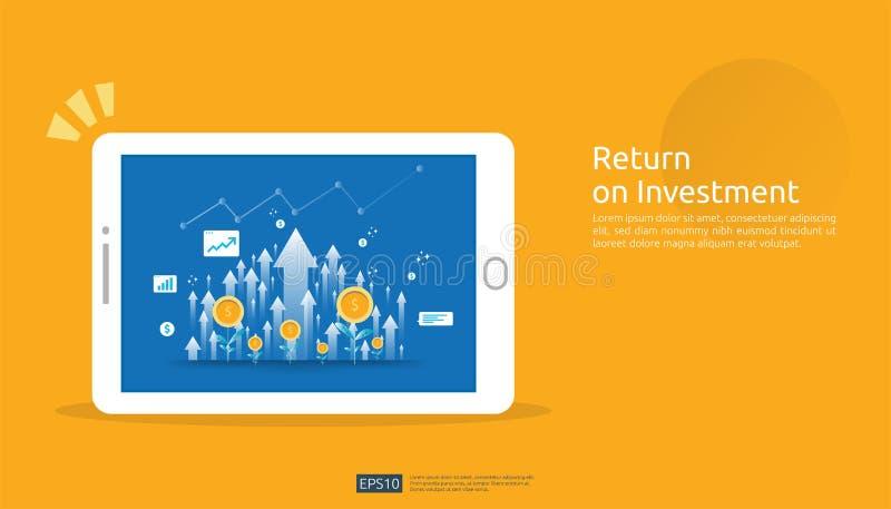 Retour sur l'investissement, concept d'occasion de b?n?fice flèches de croissance d'affaires au succès sur l'écran de comprimé au illustration libre de droits